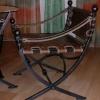 №050 Кованый стул с кожаной сидушкой