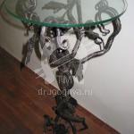 Арт №026 Кованый стол со стеклянной столешницей