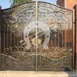 Арт №044 Кованые ворота с поликарбонатом